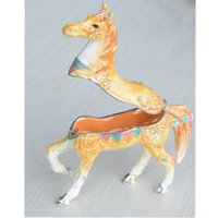 Wholesale Yellow ornated horse crystal jewelry box Trinket Box Collectible horse giftwares horse sculpture home decor birthday christmas gifts