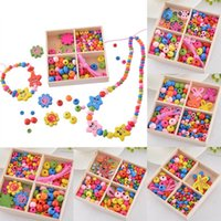 Wholesale DIY Accessories Beads Multicolor Wooden Beaded Box Jewelry Toys Gift For Children Necklace Bracelet Crafts Random Shipment