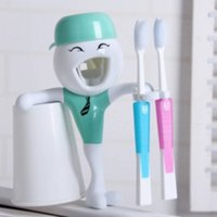 Wholesale TB8007 Green boy good morning ABS automatic toothpaste dispenser squeezer and Toothbrush box tooth brush holder tooth glass