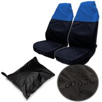 Wholesale 2pcs Polyester Universal Car Van Front Seat Cover Waterproof Protector Nylon Bag Black Blue Except XL Seats or Deep Bucket Seats cover