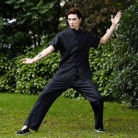 Wholesale martial arts chinese kung fu set men chinese Tai chi suit short shirt pants Linen kungfu uniform color