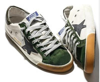 Wholesale brand genuine leather golden goose ss14 Green low shoes men s shoes women s shoes