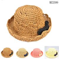 Cheap Kids Hat Caps Hats Baby Hat Boys Girls Straw Hat 2015 Spring Summer Sun Hat Bucket Hat Kids Cap Fashion Wide Brim Hats Children Caps C3723