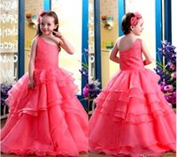 Cheap 2016 Pretty Watermelon Arabic Girl's Pageant Dresses One Shoulder Long Beaded Sequins Organza Tiered Ruffles Flower Girls Dresses BO9375