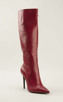 Cheap Comfortable Fashion Woman Red Brown Long Boots Cowhide Leather Over The Knee Boots Pointed Toes Night Club Side Zipper Stiletto Heel 12cm