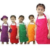 Wholesale 5pcs set Adjustable Plain Apron Front Pocket Children Waiter Chefs Kitchen Cook Craft Bib