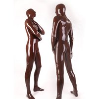 latex catsuit -spandex -lycra - Black Sexy Latex Full Cover Catsuit With D rings Natural Latex Zentai Catsuit for Men Bodysuit Sexy Catsuit Costumes