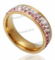 Wholesale Titanium Stainless Steel Clear and Pink CZ Gold Band Ring Women s Wedding Jewelry Size to
