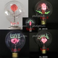 Wholesale New Arrival Attractive Fashion Incandescent Edison Vintage Light Bulb With Rose And Sunflower Inside flame bulb lights decorate w