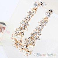 Wholesale Fashion Elegant Luxury Pearl Rhinestone Dangle Chandelier Earrings Jewelry for Women N76