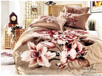 Wholesale brown lily peony flower pattern cotton reactive printed bed sheets duvet quilt covers set pc for Full Queen comforter bedding B