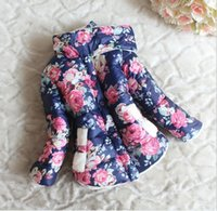 Wholesale Retail Baby Girls Winter Clothes Coat New Hot Sale Children Floral Printed Thicken Warmer Jacket Outwear Kids Clothing Girl Coats