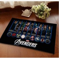 Wholesale 300pcs LJJC3432 cm Superhero Doormat Superman Batman Captain America Animation Hero Thor Bedroom Carpet Avengers Mats Cartoon Door Rug