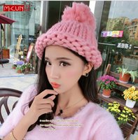 ball shag - Casual Solid Hat Fashion Shag line Knitted Women Hats Twist the knit Warm Winter Caps Hat Sports Ski Skullies Beanies with ball top