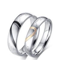 Wholesale New Letters quot yours quot Carved Heart shaped Jewelry Titanium Steel Jewelry Couple Rings Lovers Rings for CR