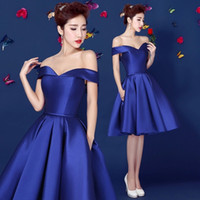 Wholesale 2015 Royal Blue Off Shoulder Homecoming dress Taffeta Knee Length Short Teens Prom Dress th Graded Graduation Dress custom made