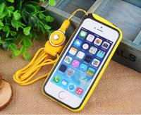 Wholesale for iPhone S S TPU Bumper Case Cover Solid Color With Chrome Chromel Buttons Lanyard in Retail Package