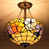 10 ~ 15sq.m CE 10 to 14 Inch Art Stained Glass Flower & Butterfly Tiffany Light Modern Fashion Garden Story Tiffany Pendant Light Coffee Bar Hotel Light Fitting LED