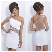 Wholesale Short Party Dresses Prom Sheath Colum One Shoulder White Rhinestone Crystal Cocktail Dress Sheer Back For Homecoming Party