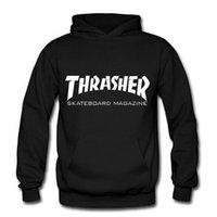 Cheap Wholesale-2015 winter men Thrasher skateboard Hip Hop Hoodies Hooded sweatshirts Fleece Pullover man Sportswear Tracksuit
