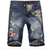 baggy jean shorts - Summer Distressed Mens Jeans Shorts Color Baggy Jean Shorts Men Camoflag Patchwork Mens Ripped Denim Shorts Q1321