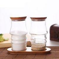 glass canister set - 2pcs Glass Kitchen Storage Jars Set Canister Cruet Set Bottle with Bamboo Lids Base Tableware Salt Pepper Set