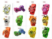 Wholesale 2012 hot candy color kids and children cartoon silicone slap watch jelly watch by DHL