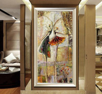 artwork dancers - Hand painted abstract Oil Painting On Canvas Home Decoration Ballet Dancer Artwork wall Picture Decor Painting gift