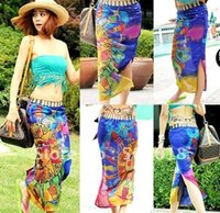 Wholesale DHL Free Sheer Sarong Hawaii Pareo Beach Skirt Coverup Cruise Wrap Dress Mix Wholsesale