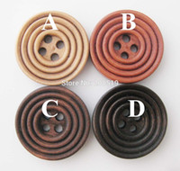 Wholesale WBNWLS Holes Vintage Brown Buttons Wood sewing Accessories mm mm mm Circle Type Four Colors