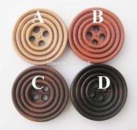 Acheter Trous bois-WBNWLS 4 trous Vintage Brown Boutons Bois accessoires de couture 50pcs 20mm / 25mm / 30mm Type de Cercle Quatre Couleurs