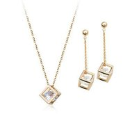 Cheap 3pcs set fashon copper box Zircon jewelry women Pendant Necklace Earrings Set gold silver statement jewelry cheap on sale 160192