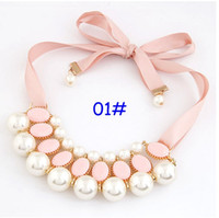 Wholesale 2016 New Christmas Gift Summer Sweet Lady Girl Pearl Pink Ribbon Chunky Collar Statement Choker Necklace Bib style choose free ship