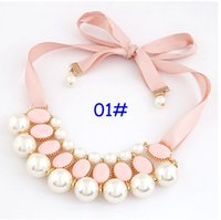 Colliers bib Prix-2016 Summer Cadeau New Christmas Sweet Lady Fille Pink Pearl Chunky Ribbon Collar Statement Choker Collier plastron 7style choisir bateau libre