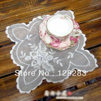 beaded coaster - Chinese traditional crafts cm White Decorative handmade beaded coasters Chiffon tablecloth