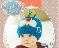 Wholesale Soft Warm Boys Girls Knitted Hat Caps Kids Ear Flap Beanie Cap lovely Rabbit Baby Hat Autumn Winter Acrylic Made