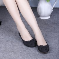 Slip-On american floor covering - Ladies Designer Bow Retro Applique Flock European and American Plus size Round toe cover heels Women Thin shoes on Flats Femme Slip on