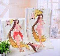 Wholesale 10PCS Magic hand towel Pattern changes when hot C F cotton Umbrella girl cm quot quot g each thick soft A0020