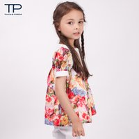 babydoll blouse - New Style Girls Summer Tops Girls Pretty Rose Print Blouses Lovely Lace Babydoll Shirts Colorful Floral Shirts J0317