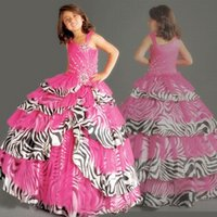 achat en gros de robes zebra à billes-Best-seller Fuchsia Organza Zebra Stripes Imprimé Beaded Ball Gown Filles Occasions Occasions Fleur Robes Girl Dressing Girls Pageant