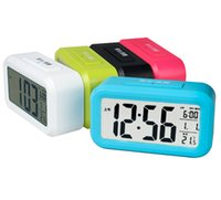 Wholesale 2015 New Large LCD Screen Digital LED Alarm Clock Multri Color LED Electronic Table Clock Multi function With Temperature Calendar
