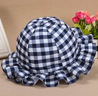 Wholesale 2014 new summer children accessories girls plaid sun hat colors