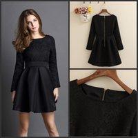 Wholesale Short Party Dresses Long Sleeves Lace Cheap Evening Dresses A Line Elegant Zipper Hot Casual Dresses DZ
