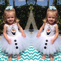 TuTu autumn party themes - 2014 new Frozen theme Children s Girls dress Frozen snowman Olaf dresses Girl cartoon tutu party dress