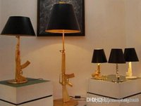 Wholesale Modern art Flos Guns AK47 Table lamp Creative Starck Design Philippe Bedroom Desk light AC V V Gold Chrome