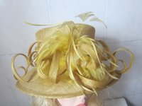 Wholesale Yellow elegant hat kentucky derby hat race hat royal ascot hat sinamay hat church hat