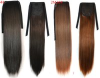 ponytail extensions - High Quality Most Popular Drawstring Ponytail Extension Silky Straight Colorful Party Cosplay Ponytails with Ribbon Clip In Hair Extensions