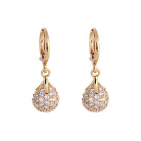 bead hoops - 18K Gold Plated Bead Ball Round Drop Pendant Ear Hoop Earring Fashion Jewelry Pair Clear Crystal Zircon Earrings H14015