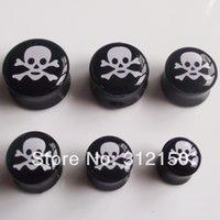 aqua gas - 48pcs sizes Fashion Acrylic Gas Skull Ear Plug Solid Bone Flesh Tunnel UV Body piercing jewelry