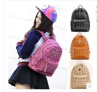 Wholesale goodlinesses hot MCM Korea rivets college student bag shoulder bag computer bag backpack PU leather